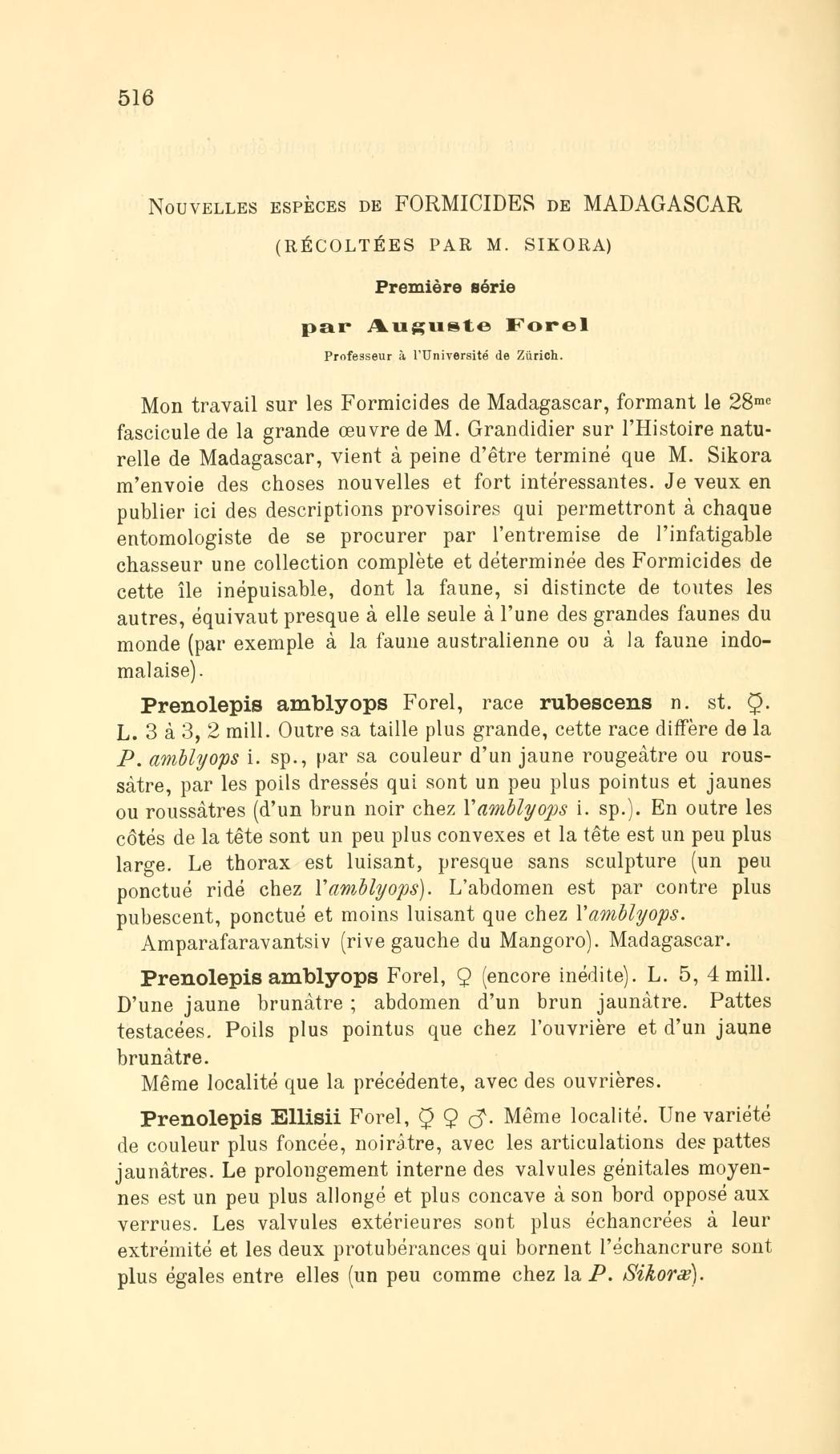 Nouvelles espèces de Formicides de Madagascar (récoltées par M. Sikora). Première série