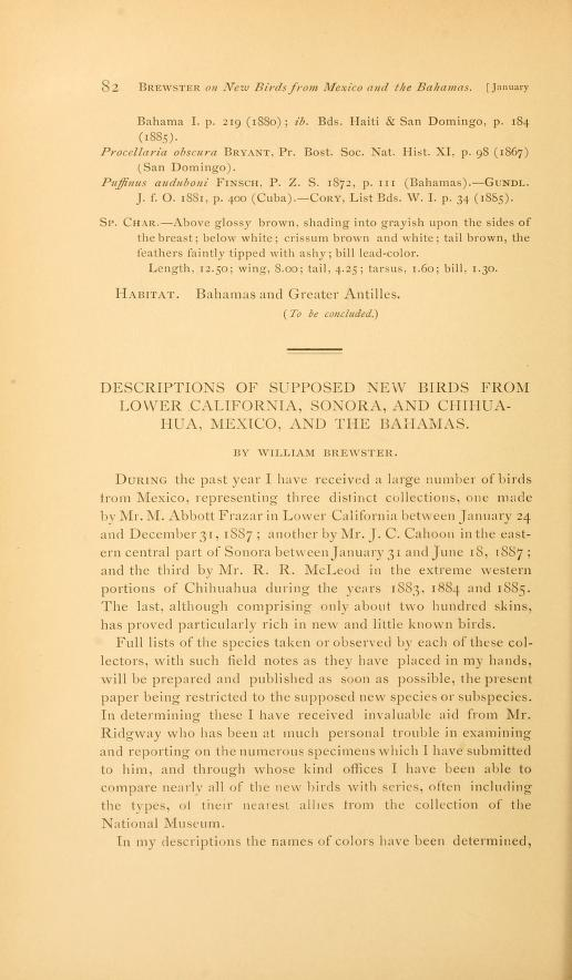 Descriptions of Supposed New Birds from Lower California, Sonora, and Chihuahua, Mexico, and the Bahamas